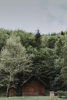 Verticale opname van een houten schuur, omringd door bomen onder een bewolkte hemel overdag