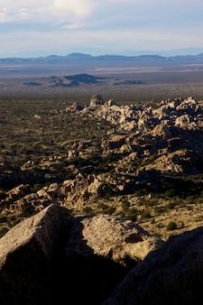 Verticale opname van een landschap vol rotsen in verschillende vormen en maten in torres del paine