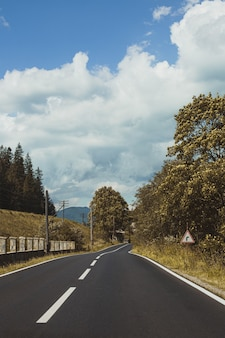 Verticale opname van een lege asfaltweg door bergen onder een bewolkte hemel