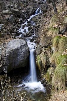 Verticale opname van een prachtige waterval in het bos