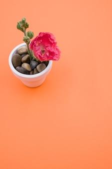 Verticale opname van een roze anjerbloem in een kleine bloempot, geplaatst op een oranje ondergrond