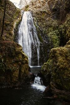 Verticale opname van een waterval, omringd door rotsen en groen onder het zonlicht overdag