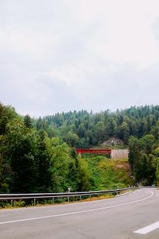 Verticale opname van een weg, omgeven door een prachtig groen landschap