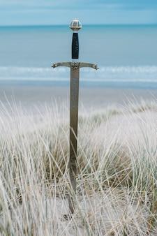 Verticale opname van een zwaard op het strand overdag