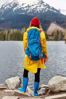 Verticale opname van vrouwelijke wandelaar geniet van een prachtig uitzicht op de natuur, staat terug naar de camera op stenen