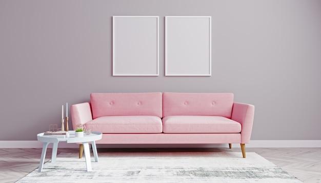 Verticale witte posterframes bespotten in woonkamer met roze bank