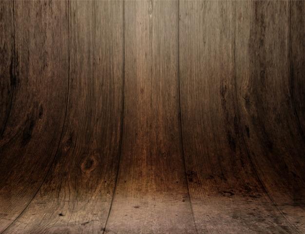Vertoning achtergrond met gebogen houten planken
