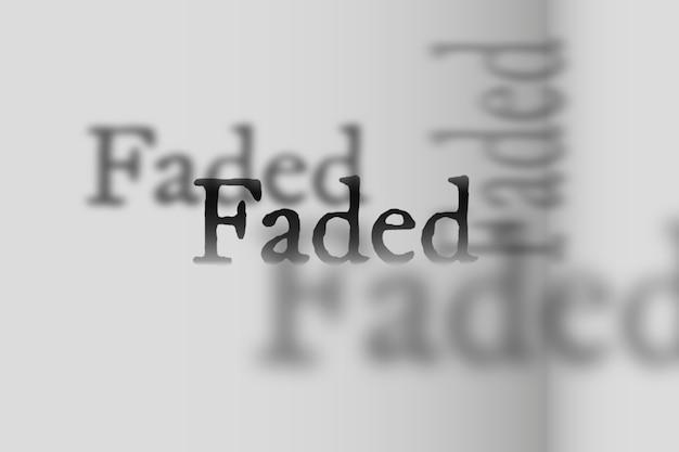 Vervaagd woord in schaduw lettertype typografie illustratie