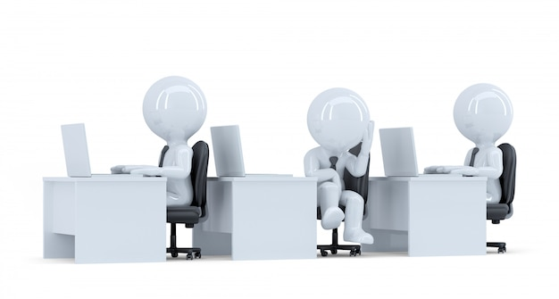 Verveeld kantoormedewerker. geïsoleerd. bevat uitknippad
