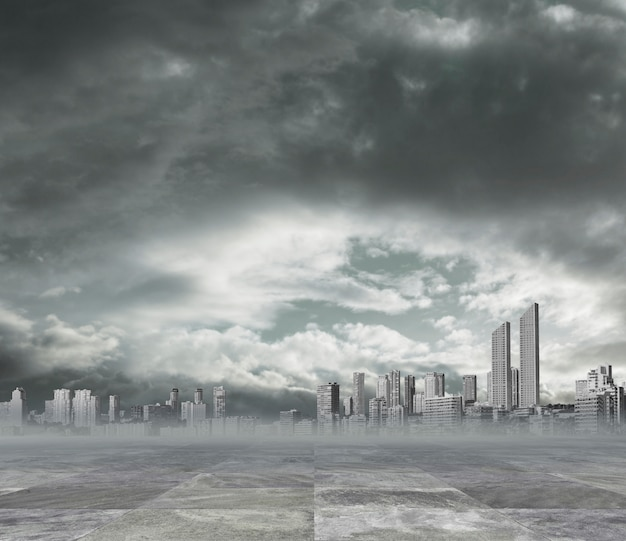 Vervuilde stad achtergrond