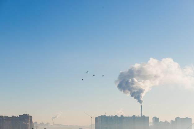 Vervuiling over stad in de ijzige ochtend, ecologieconcept.