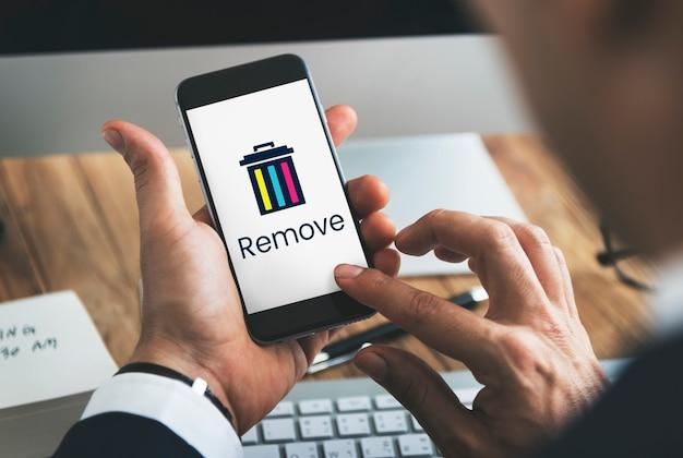 Verwijder verwijder prullenbak applicatie grafisch