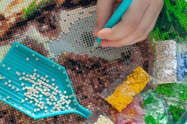 Verzamelen van diamant borduurwerk, diamant mozaïek. gekleurde kristallen. handwerk. creatie.