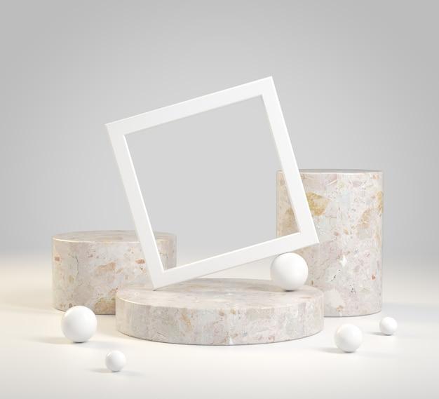 Verzameling set lege stap cilinder stenen podium met wit frame