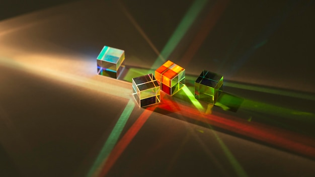Verzameling van abstract prisma en licht