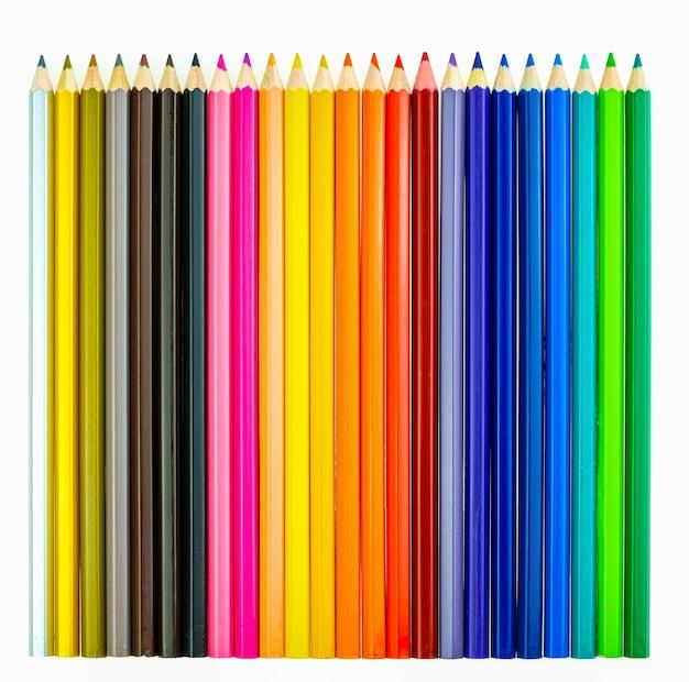 Verzameling van crayon de couleur voor tekenen op een witte achtergrond, meerkleurig potlood