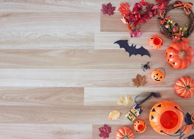 Verzameling van halloween-feestobjecten die een frame vormen