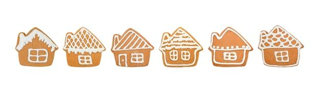 Verzameling van kerst peperkoek koekjes huizen geïsoleerd op een witte achtergrond