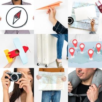 Verzameling van mensen reizen journey studio collage