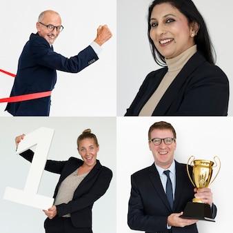 Verzameling van mensen uit het bedrijfsleven succes en prestatie
