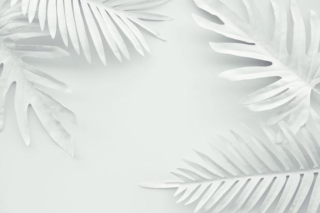 Verzameling van tropische bladeren in witte kleur