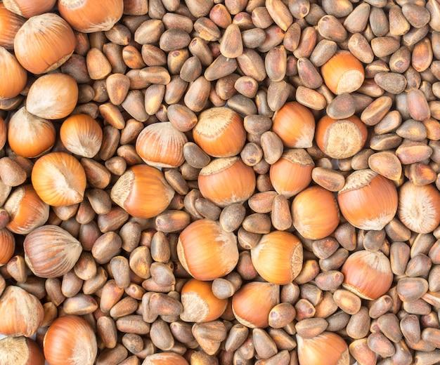 Verzameling van walnoten en hazelnoten in de dop. pijnboompitten plat leggen en bovenaanzicht achtergrond