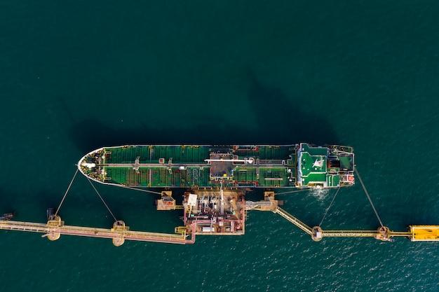 Verzending olietank op de groene zee