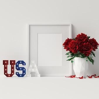 Veteran day mock up poster frame met decoratie