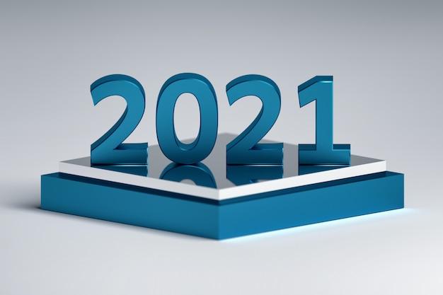 Vetgedrukte 2021 nieuwjaarsnummers op glanzend voetstuk