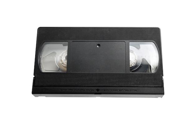 Vhs-videobandcassette die op witte achtergrond wordt geïsoleerd