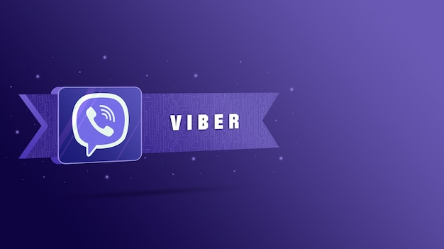 Viber-logo met de inscriptie op de technologische plaat 3d