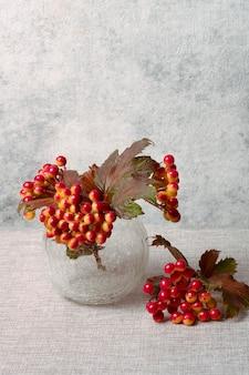 Viburnum in glazen vaas op grijs stilleven