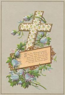Victorian wenskaart pasen kruis