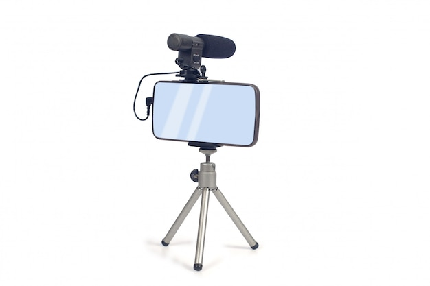 Video live streamen met smartphone en microfoon.