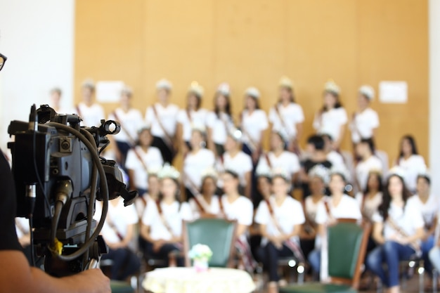 Video vintage beta camera opname interview van group miss pageant