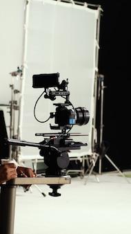 Videocamera op statief