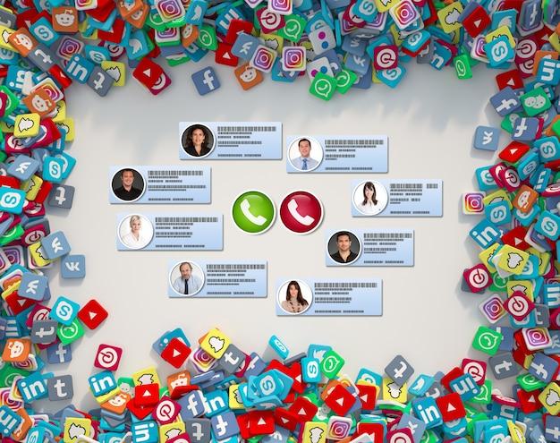 Videoconferentie die plaatsvindt op een sociale media-achtergrond