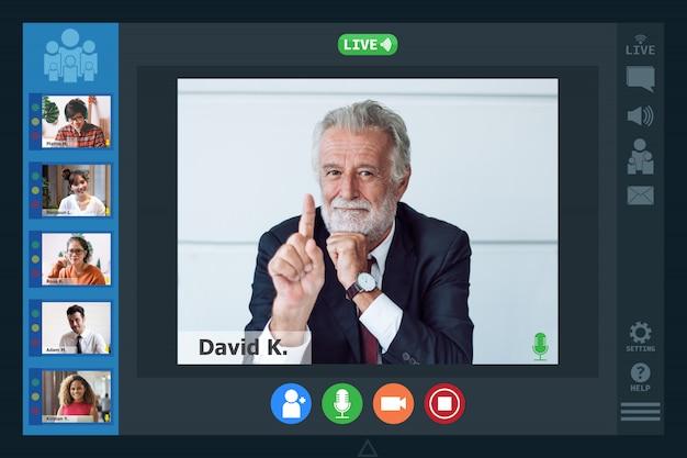 Videoconferentie facetime schermmonitorvergadering
