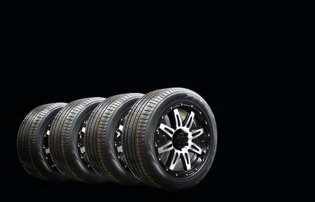 Vier auto wiel rubber met lichtmetalen velg geïsoleerd