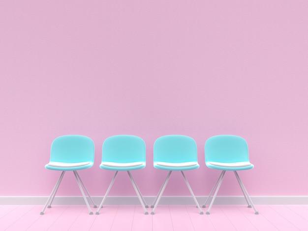 Vier blauwe stoelen op betonnen muur