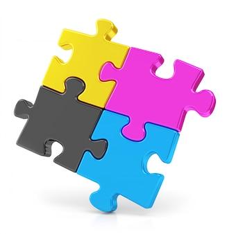 Vier cmyk-puzzels