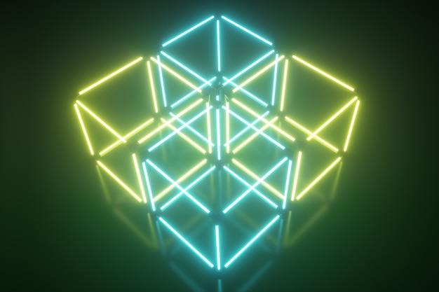 Vier gloeiende neon kubus