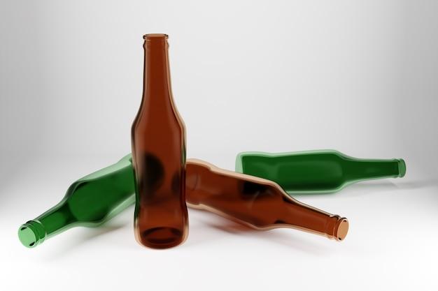 Vier groene en bruine glazen bierflessen op witte geïsoleerde achtergrond