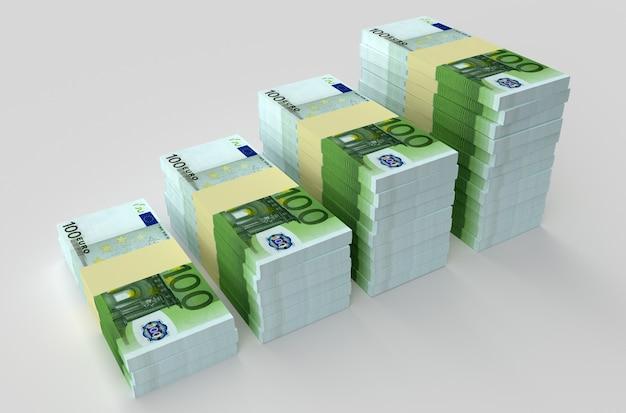 Vier hopen van vele eurobankbiljetten