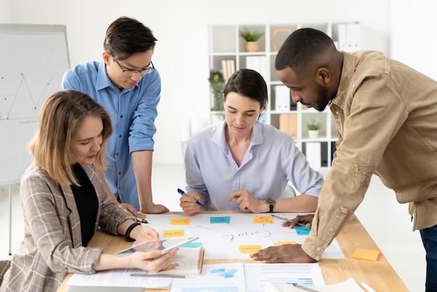 Vier jonge interculturele analisten over slimme vrijetijdskleding die met papieren over tafel buigen terwijl ze doelen bespreken die op briefpapier zijn geschreven