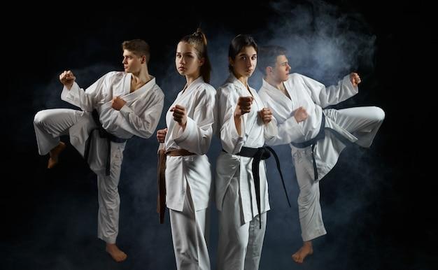 Vier karatestrijders in witte kimono, groepstraining. karatekas over training, vechtsporten, vechten