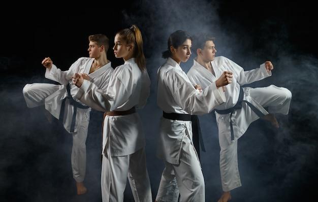 Vier karatestrijders in witte kimono, groepstraining. karatekas over training, vechtsporten, vechtwedstrijden