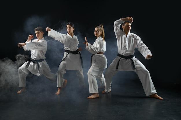 Vier karatestrijders in witte kimono vormen in gevechtshoudingen, groepstraining. karatekas over training, vechtsporten, vechtwedstrijden