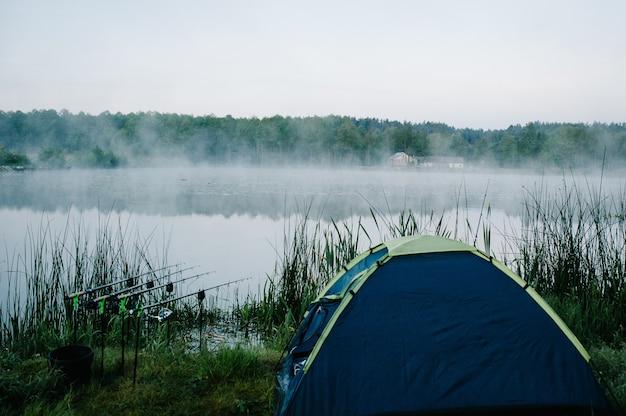 Vier karper hengels in rod pod op een oppervlak van meer naast camping tent