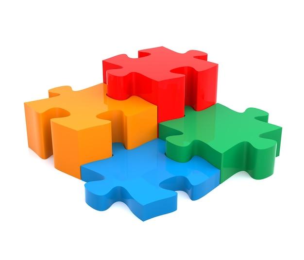 Vier kleur puzzelstukjes gecombineerd oplossing concept op witte achtergrond